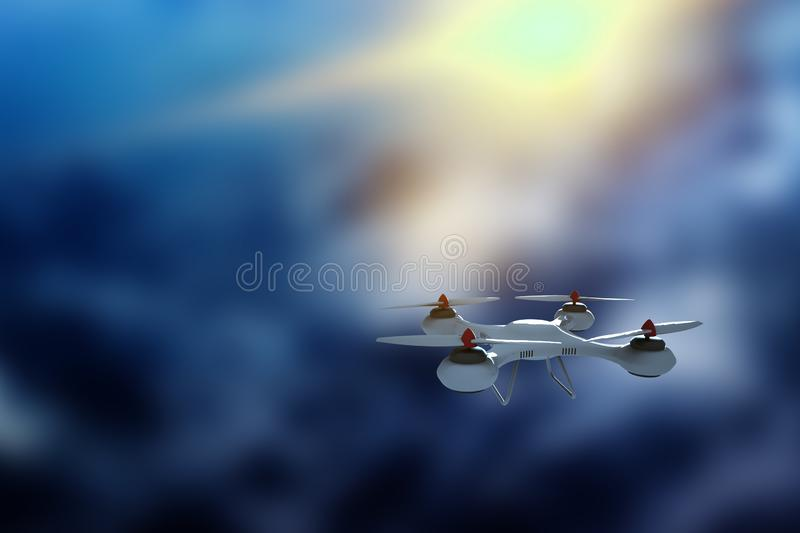 Drone, white quadrocopter against the sky with copy space. The concept of technology, robotization, computerization. 3D render,. Mixed media vector illustration