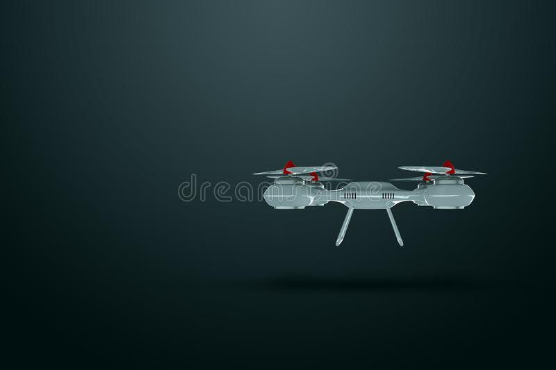 Drone, white quadrocopter on a dark background with copy space. The concept of technology, robotization, computerization. 3D. Render, 3D illustration vector illustration