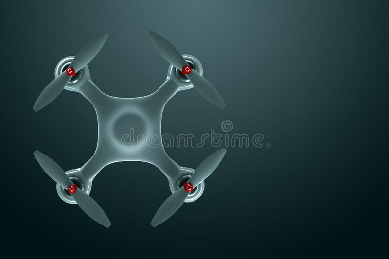 Drone, white quadrocopter on a dark background with copy space. Top view, flat lay. The concept of technology, robotization,. Computerization. 3D render, 3D stock illustration