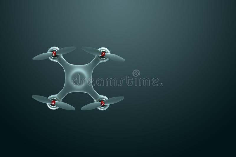 Drone, white quadrocopter on a dark background with copy space. Top view, flat lay. The concept of technology, robotization,. Computerization. 3D render, 3D vector illustration