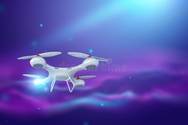 Drone, white quadrocopter on violet background with copy space. The concept of technology, robotization, computerization. 3D. Render, 3D illustration royalty free illustration