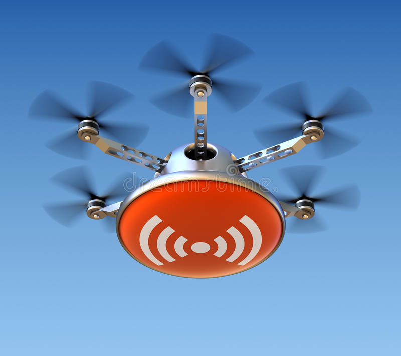 Drone with wireless internet. Sign - 3D concept vector illustration