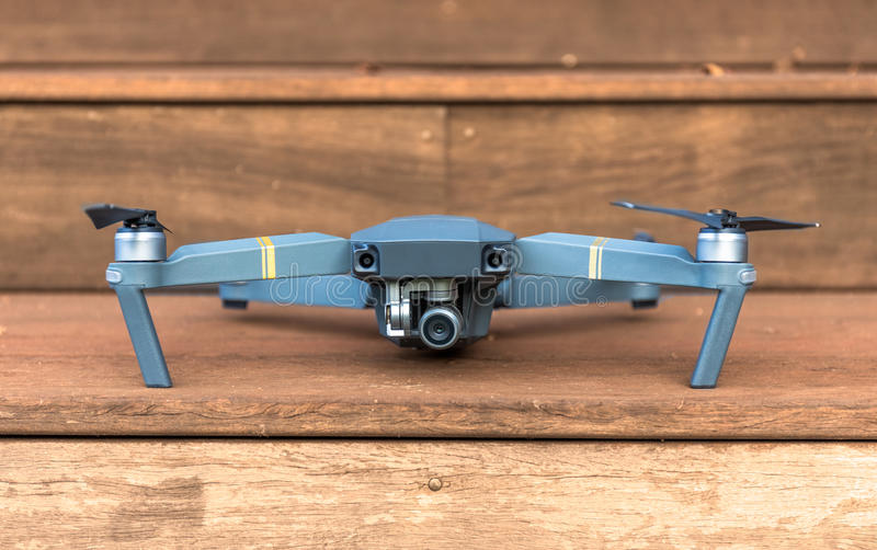 Drone on wooden stairs royalty free stock images