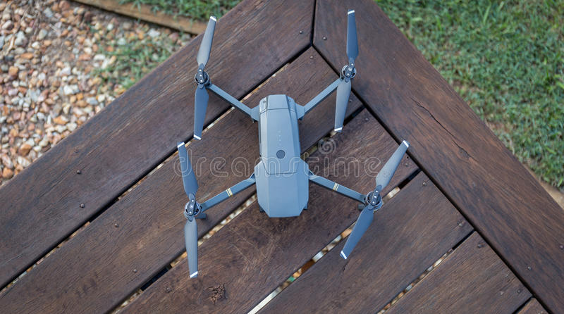 Drone on a wooden table view from the top stock photography
