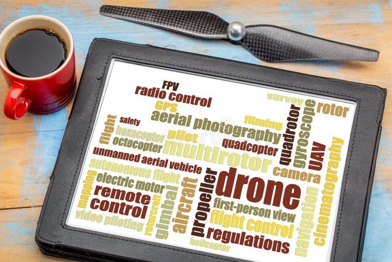 Drone word cloud on digital tablet stock photos