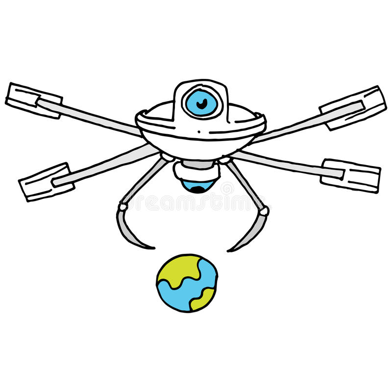 Droned traveling World vector illustration