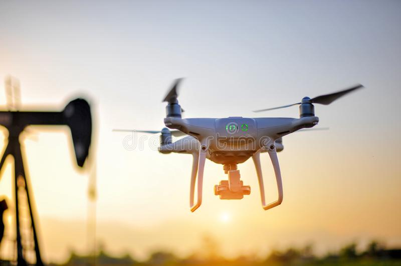 Drones aerial photography equipment Of photographers taking aerial photography. To explore the terrain stock photography