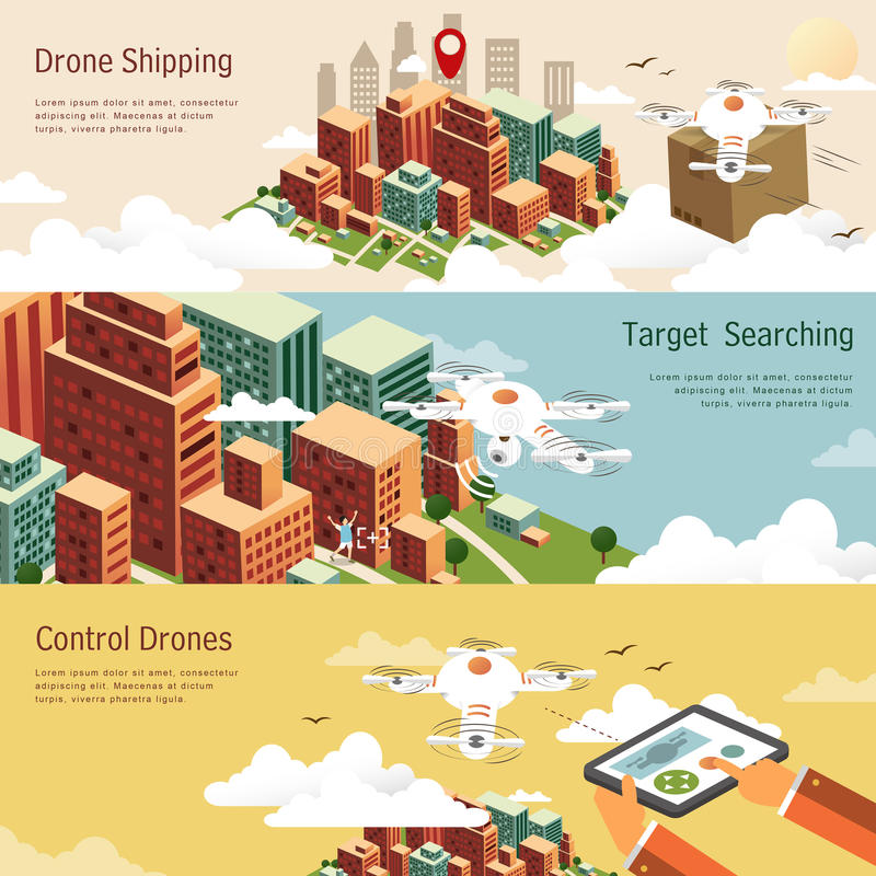 Drones applications concept. Drones applications in different fields in flat design