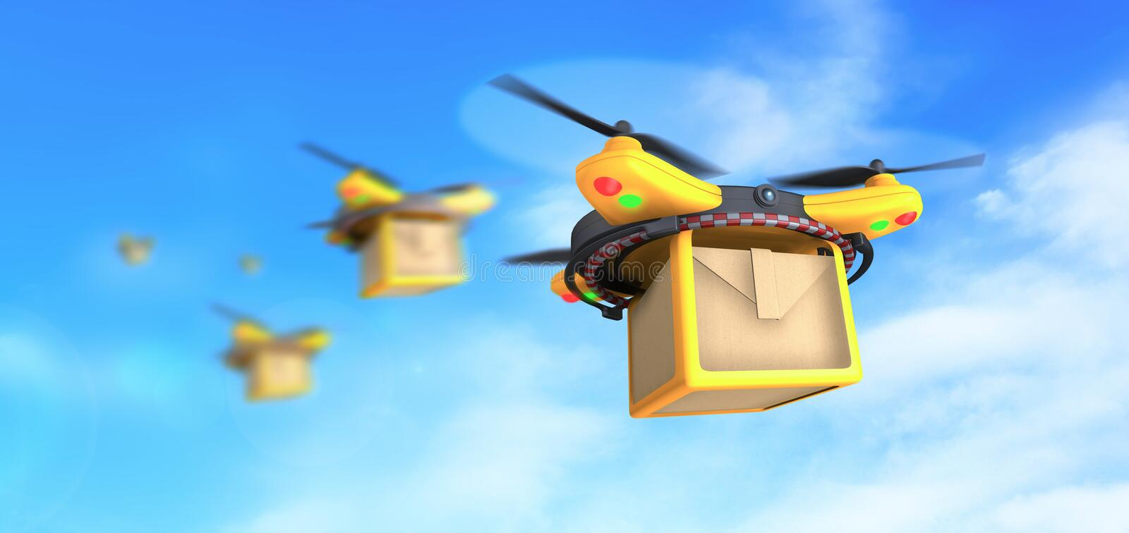Drones deliver packages. Concept 3d design illustration, hd images. Illustration of yellow quadcopter drones deliver  box packages to customers vector illustration