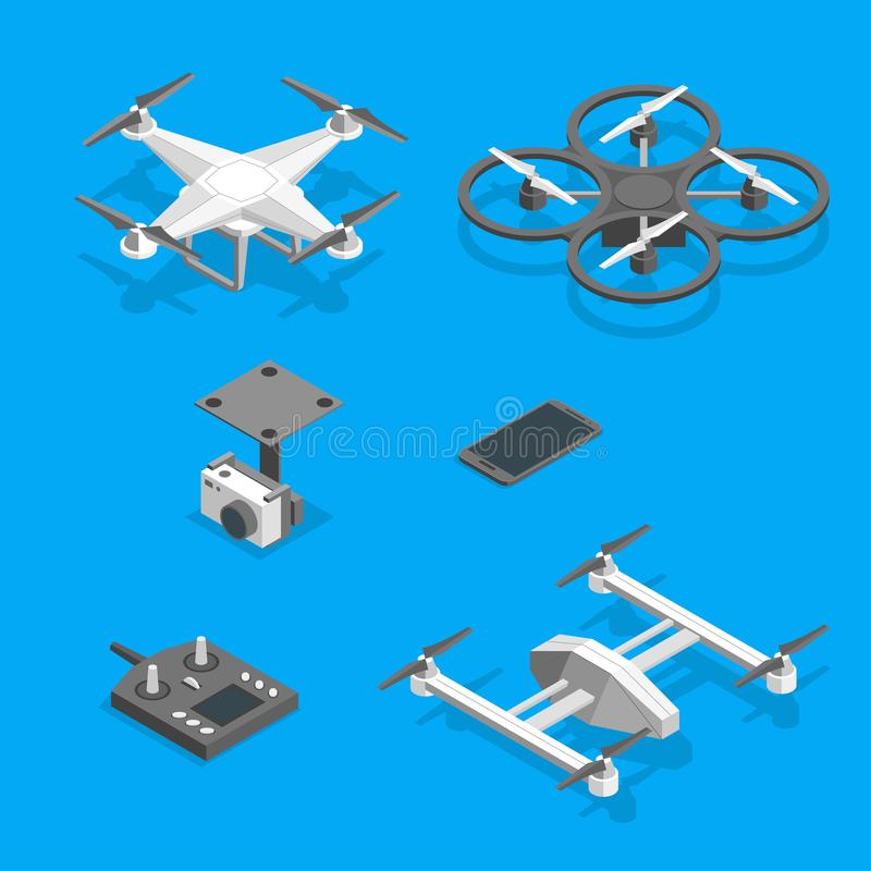 Drones and Equipment Technology Control Set Isometric View. Vector royalty free illustration