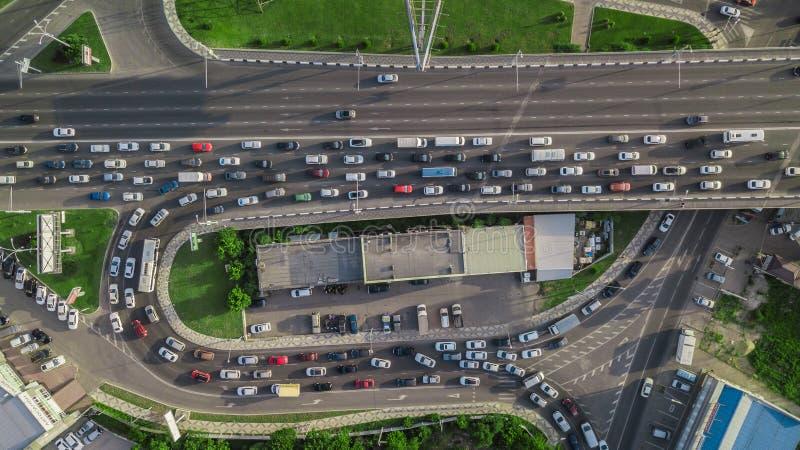 Drones Eye View - modern bridge traffic jam top view, transportation concept stock photos