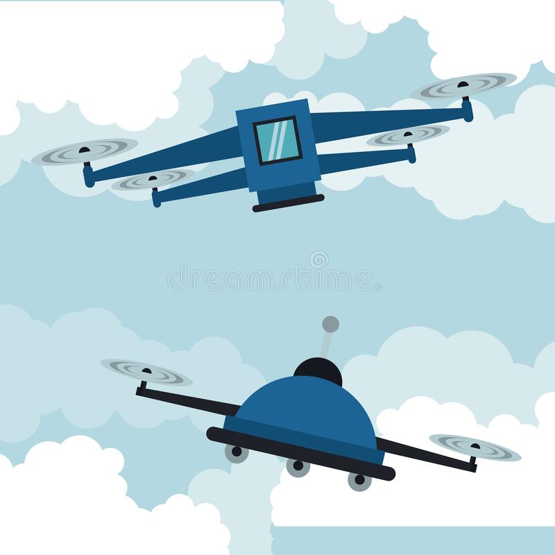 Drones flying in the sky royalty free illustration