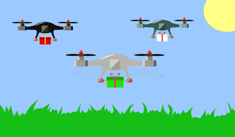 Drones with gifts royalty free stock photos