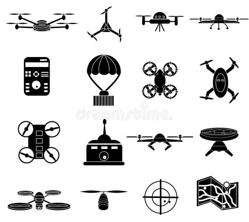 Drones icons set vector illustration