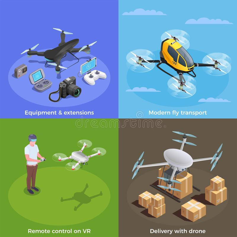 Drones Isometric Concept vector illustration