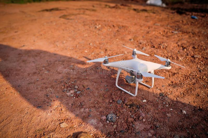 Drones Photo Miniature Aviation photography for entertainment. Flight of Flying Equipment For aerial photographers fly shooting concept photography angle. The royalty free stock photo