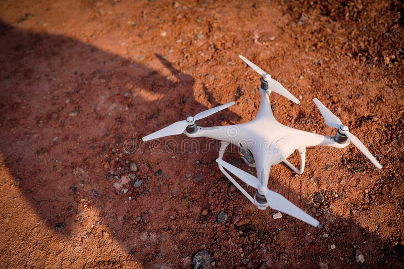 Drones Photo Miniature Aviation photography for entertainment. Flight of Flying Equipment For aerial photographers fly shooting concept photography angle. The royalty free stock photos