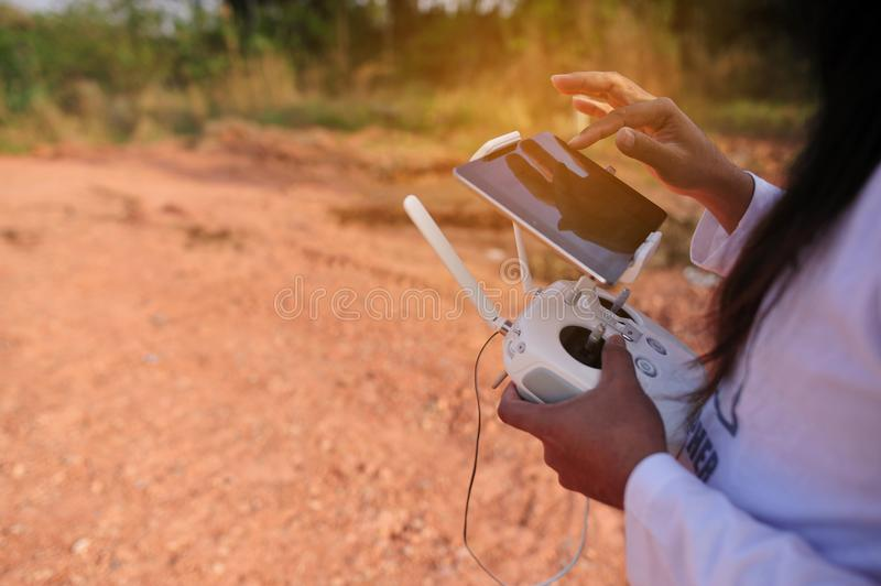 Drones Photo Miniature Aviation photography for entertainment. Flight of Flying Equipment For aerial photographers fly shooting concept, high angle angle shots stock photo