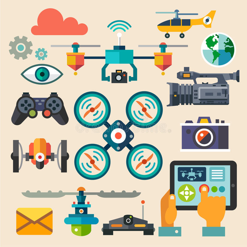 Drones for photo and video. New technologies. Vector flat icon set and illustrations