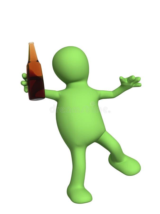Dronken 3d pop - marionet met een fles royalty-vrije illustratie