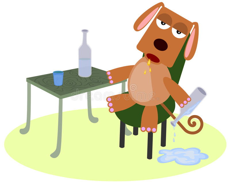 Dronken hond royalty-vrije illustratie