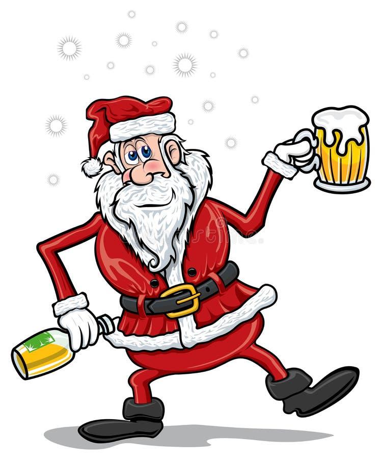 Dronken Kerstman stock illustratie