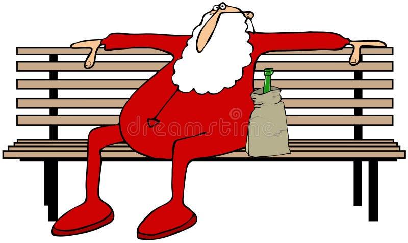 Dronken Kerstman op een parkbank royalty-vrije illustratie