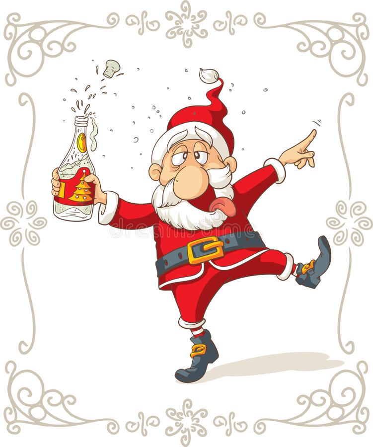 Dronken Santa Dancing Vector Cartoon vector illustratie