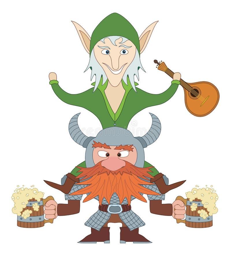 Dronken vrienden, elf en dwerg royalty-vrije illustratie