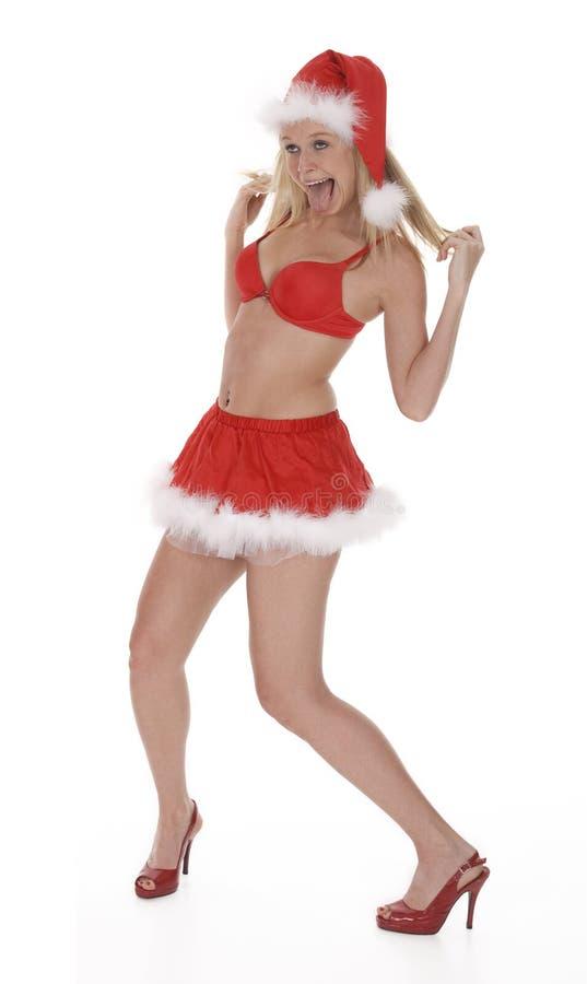 Dronken Vrouwelijke Kerstman stock fotografie