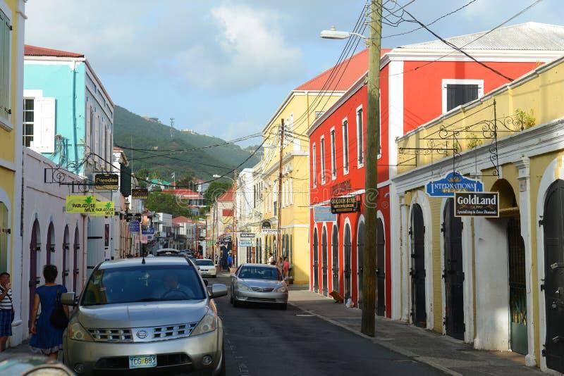 Dronningens Gade, Charlotte Amalie, de Maagdelijke Eilanden van de V.S. royalty-vrije stock foto