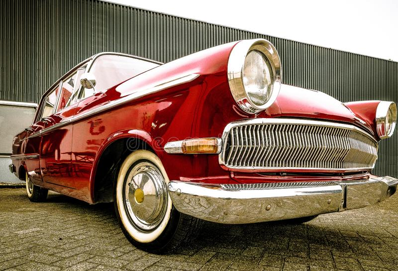 DRONTEN/NETHERLANDS-MAY 22, 2016: Low angle view of a Opel Kapitan at. A classic car meeting royalty free stock images