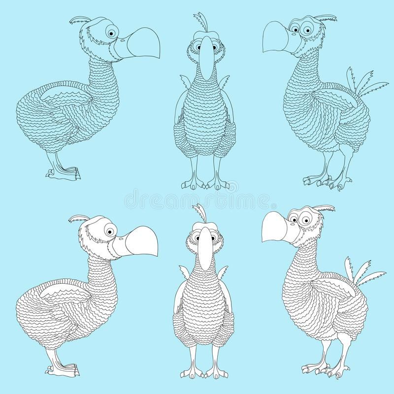 Drontfågel Målade den slocknade artdronten för tecknade filmen i svart och whi royaltyfri illustrationer
