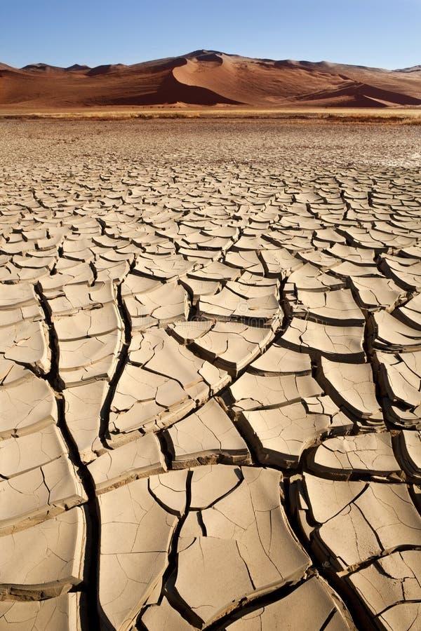 Droog Gebarsten Aarde - Sossusvlei - Namibië stock afbeeldingen