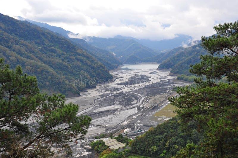 Droog rivierbed en meander royalty-vrije stock fotografie