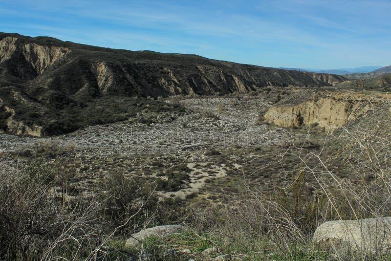 Droog San Jacinto Riverbed, San Bernardino National Forest, Rivieroeverprovincie, Californië royalty-vrije stock foto's