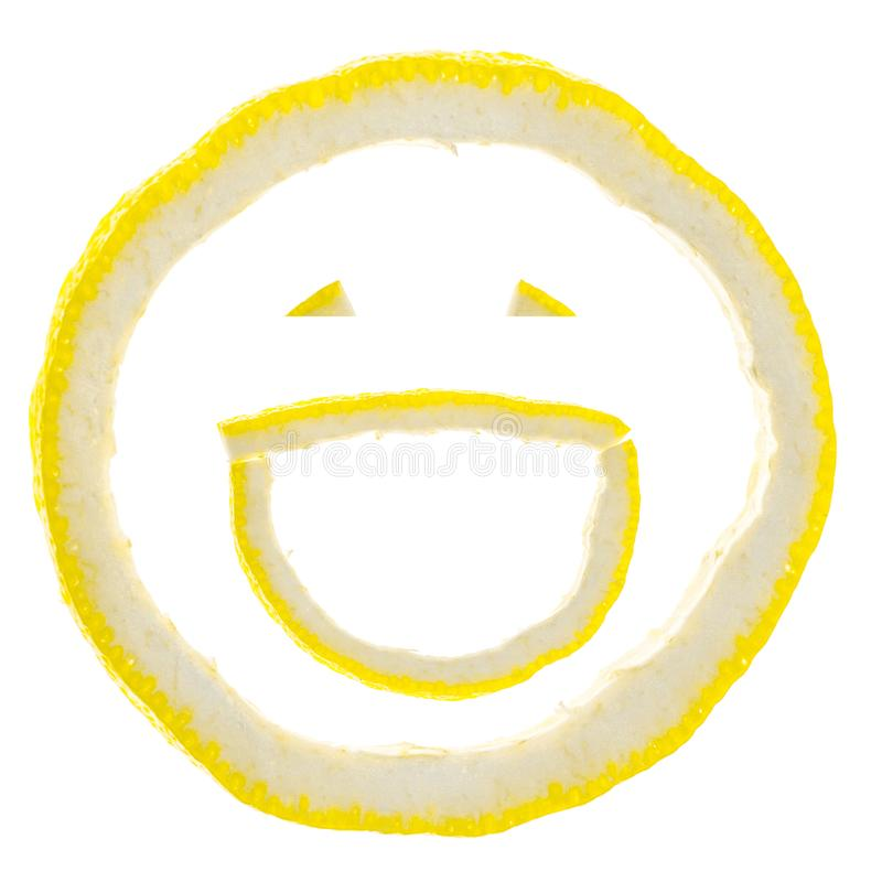 Droog van citroen in vormglimlach op witte achtergrond wordt geïsoleerd die Glimlachconcept stock illustratie