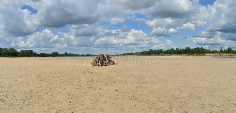 Droog Vistula-rivierbed royalty-vrije stock foto