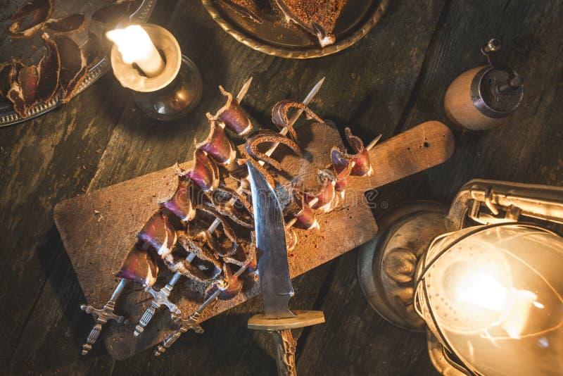 Droog vlees op houten lijst royalty-vrije stock foto