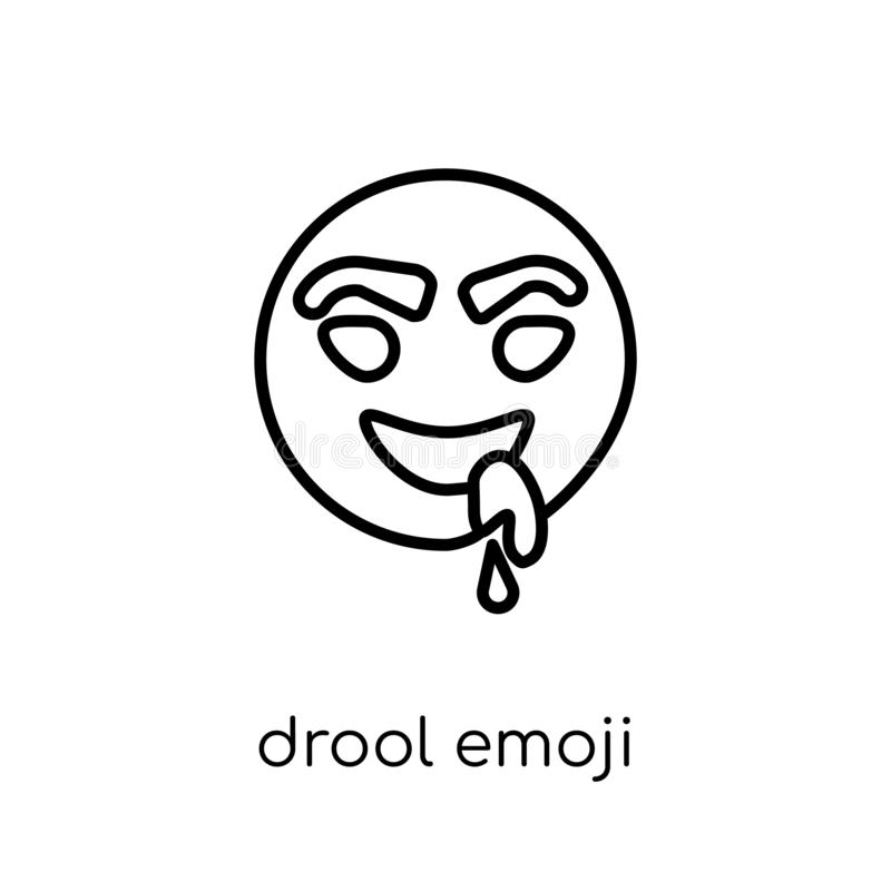 Drool emoji icon. Trendy modern flat linear vector drool emoji i. Con on white background from thin line Emoji collection, outline vector illustration vector illustration