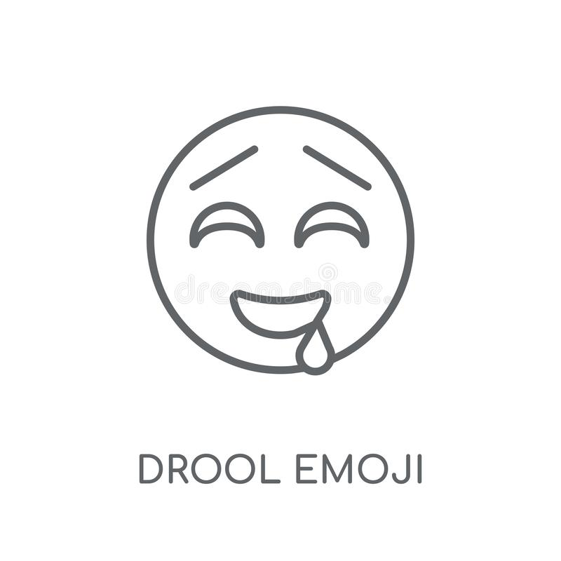 Drool emoji linear icon. Modern outline Drool emoji logo concept. On white background from Emoji collection. Suitable for use on web apps, mobile apps and print stock illustration