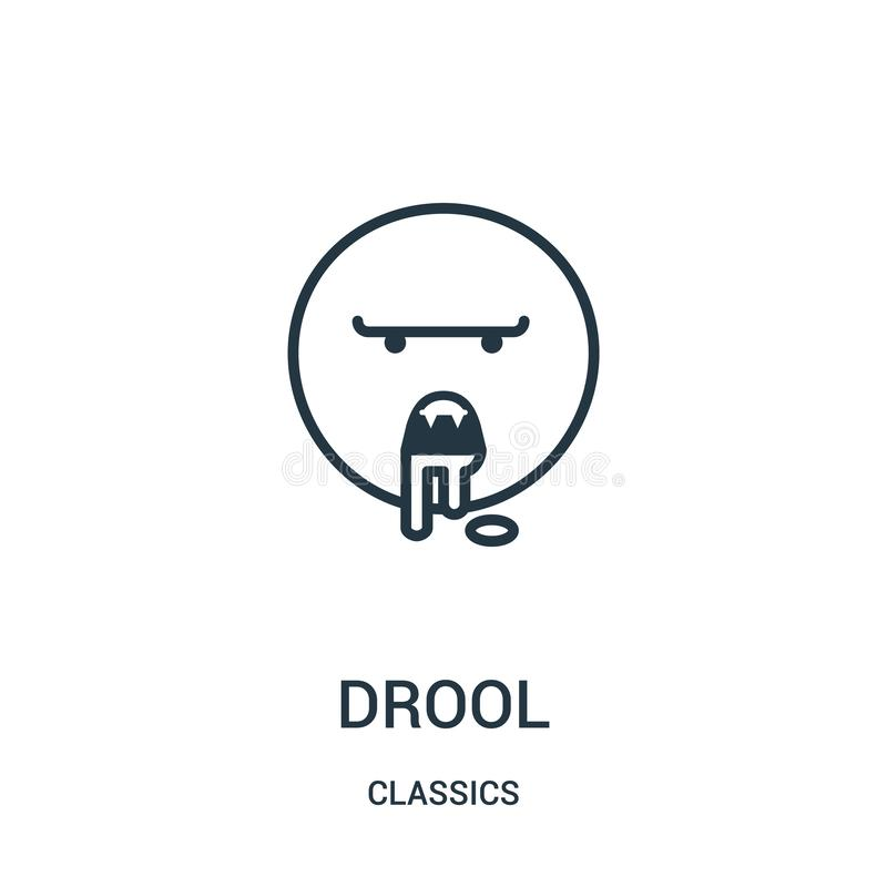 Drool icon vector from classics collection. Thin line drool outline icon vector illustration. Linear symbol. For use on web and mobile apps, logo, print media stock illustration