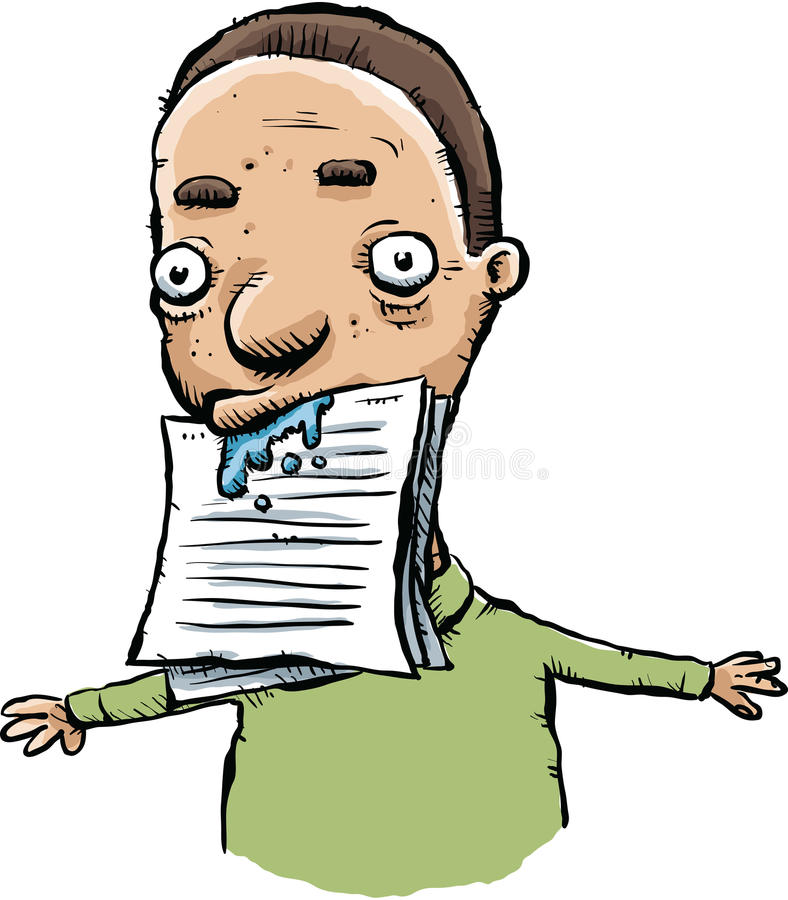 Drool Paper. A cartoon man drools on a stack of paper in his mouth vector illustration