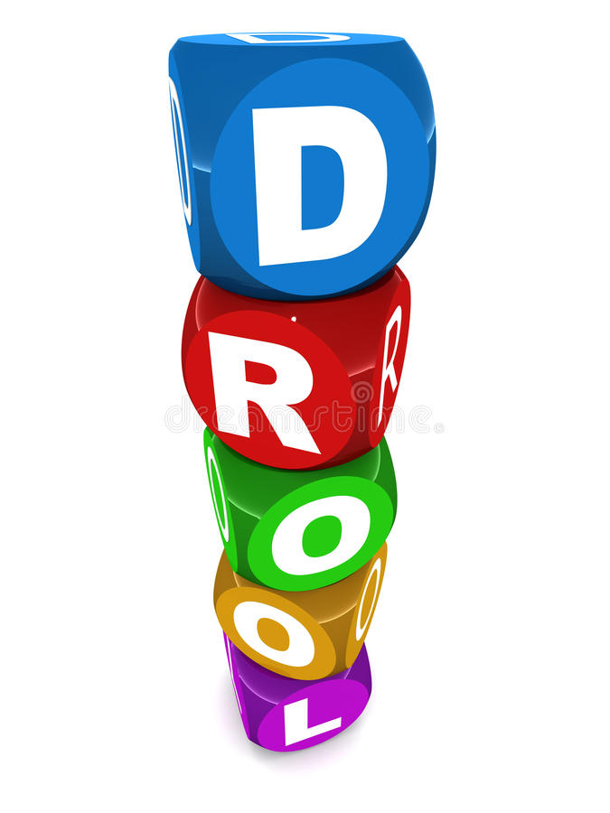 Drool. Wishful drooling concept, drool word in colorful reflective toy blocks on white royalty free illustration