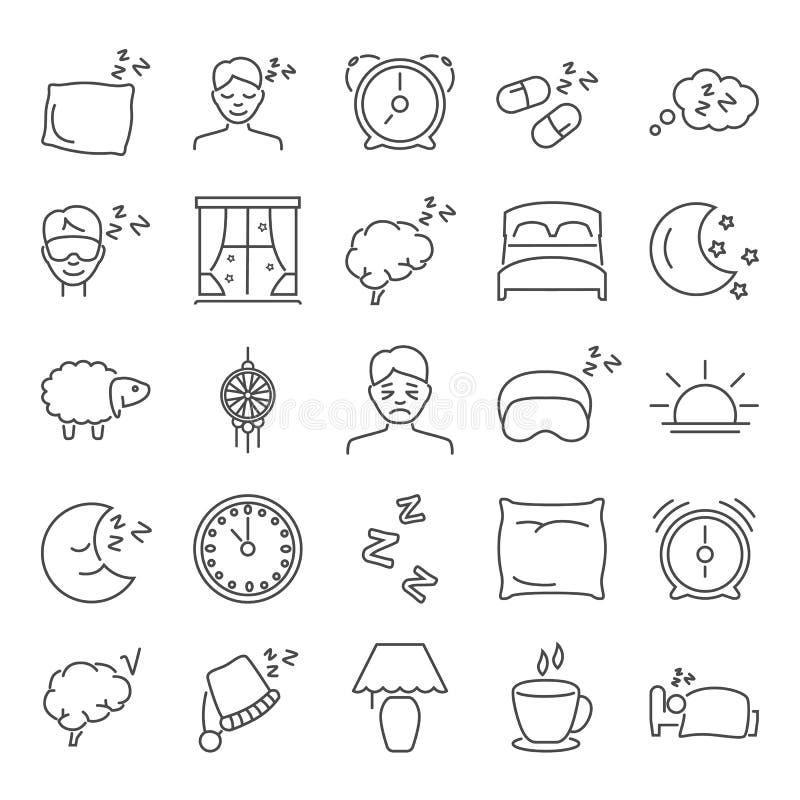 Droom en rust geplaatste lijnpictogrammen stock illustratie