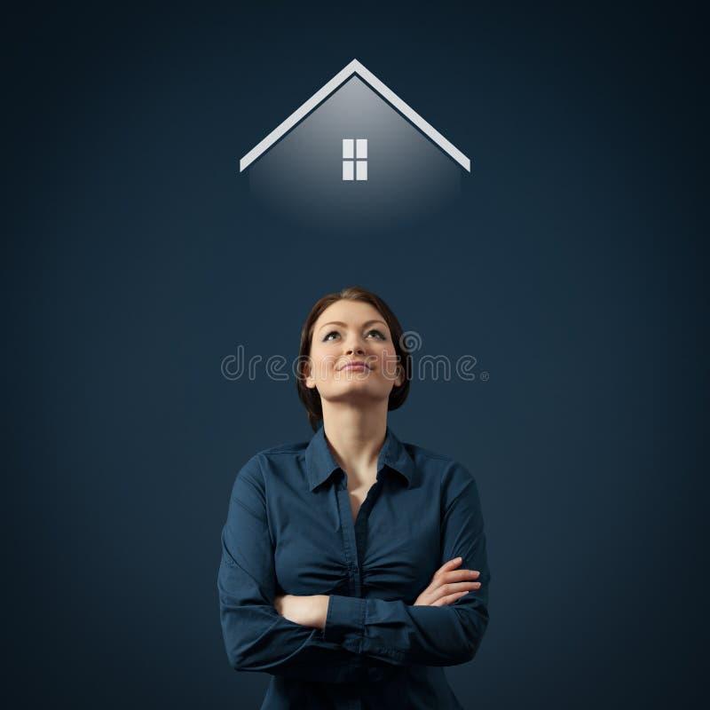 Droom over huis stock afbeeldingen