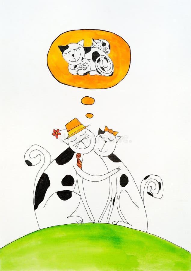 Droom van het hebben van baby, childs tekening, waterverf p stock illustratie