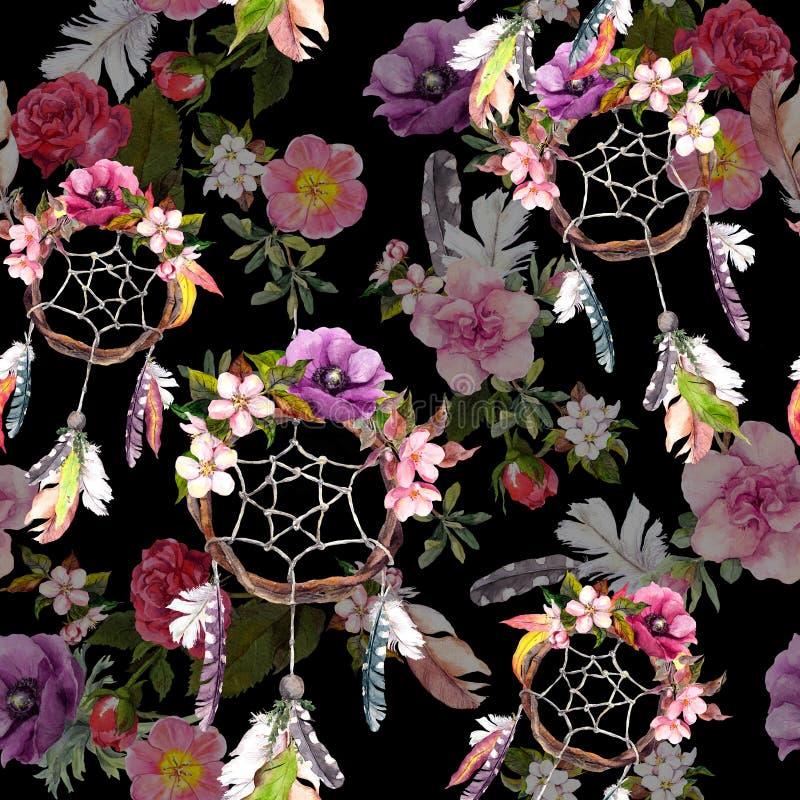 Droomvanger, bloemen, veren op zwarte achtergrond Naadloos patroon watercolor royalty-vrije stock foto's
