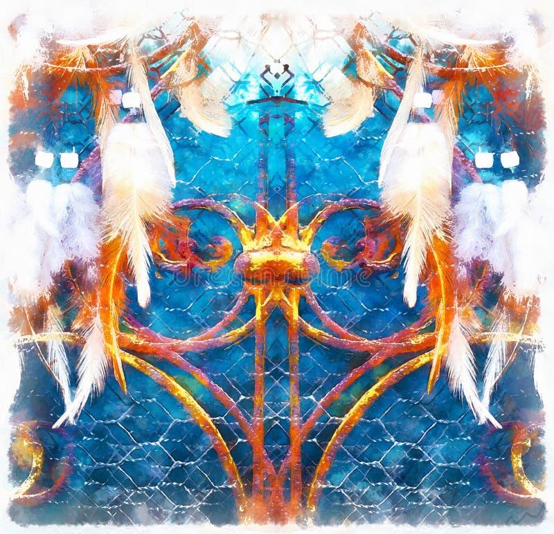 Droomvanger en siervenster op achtergrond computer het schilderen effect vector illustratie