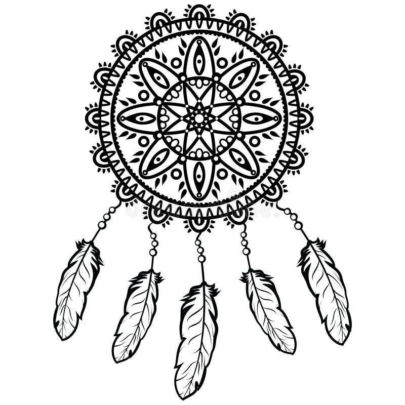 Droomvanger grafisch in zwart-wit verfraaid met veren en parels die zijn eigenaar goede dromen in mandalastijl geven royalty-vrije illustratie